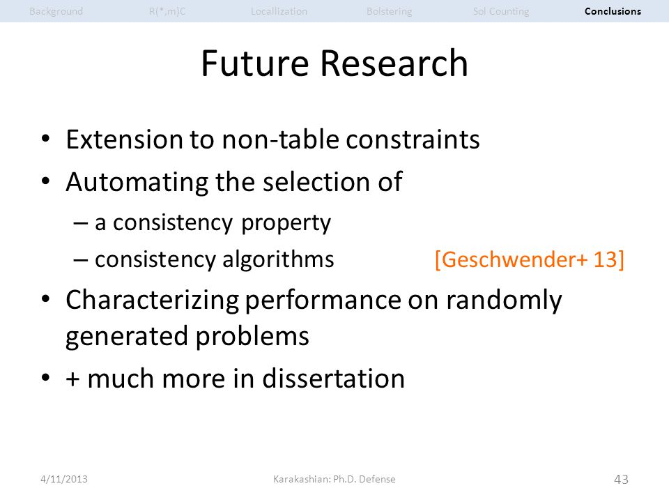 Future Research Extension to non-table constraints Automating the selection of – a consistency property – consistency algorithms [Geschwender+ 13] Cha