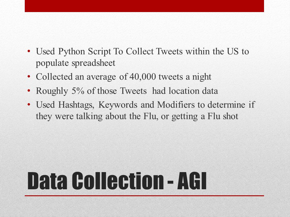 Data Collection - AGI Used Python Script To Collect Tweets within the US to populate spreadsheet Collected an average of 40,000 tweets a night Roughly 5% of those Tweets had location data Used Hashtags, Keywords and Modifiers to determine if they were talking about the Flu, or getting a Flu shot