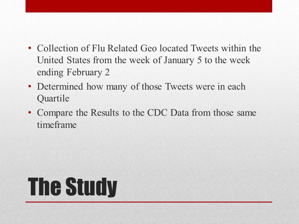 The Study Collection of Flu Related Geo located Tweets within the United States from the week of January 5 to the week ending February 2 Determined how many of those Tweets were in each Quartile Compare the Results to the CDC Data from those same timeframe
