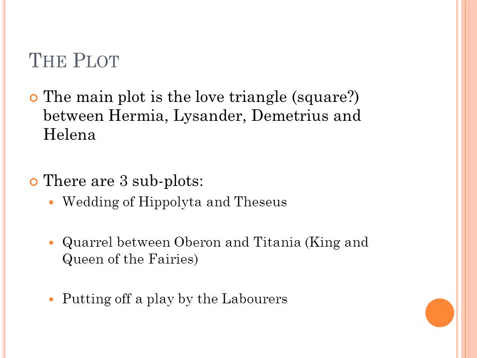 T HE P LOT The main plot is the love triangle (square?) between Hermia, Lysander, Demetrius and Helena There are 3 sub-plots: Wedding of Hippolyta and Theseus Quarrel between Oberon and Titania (King and Queen of the Fairies) Putting off a play by the Labourers
