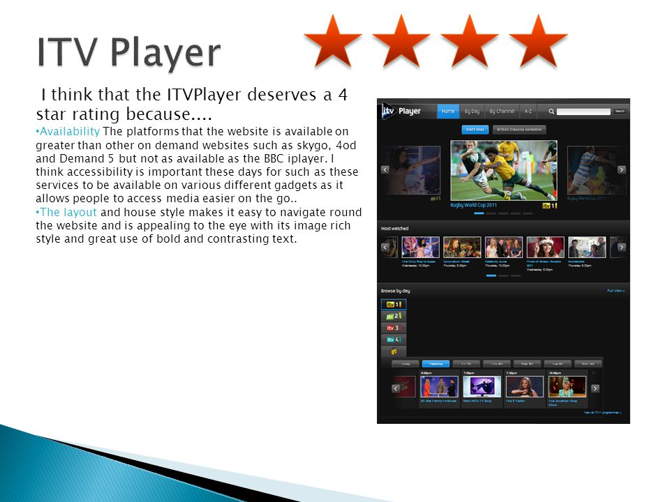 I think that the ITVPlayer deserves a 4 star rating because.... Availability The platforms that the website is available on greater than other on dema