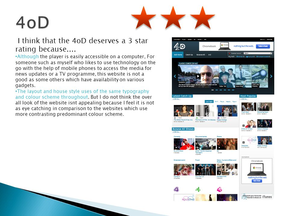 I think that the 4oD deserves a 3 star rating because.... Although the player is easily accessible on a computer, For someone such as myself who likes
