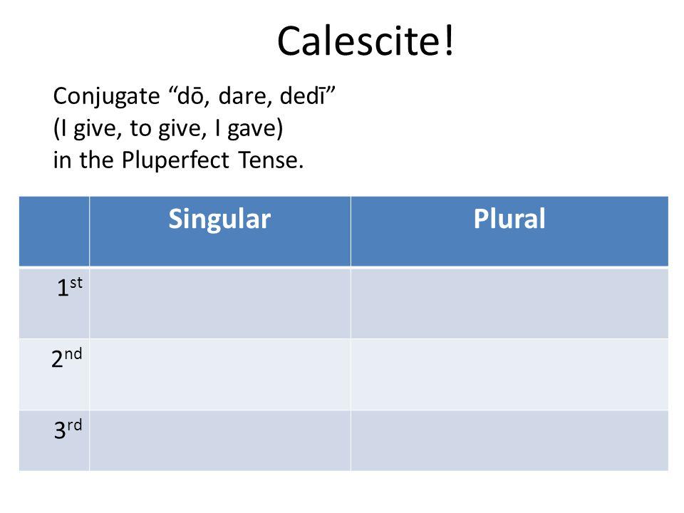 "Calescite! SingularPlural 1 st 2 nd 3 rd Conjugate ""dō, dare, dedī"" (I give, to give, I gave) in the Pluperfect Tense."
