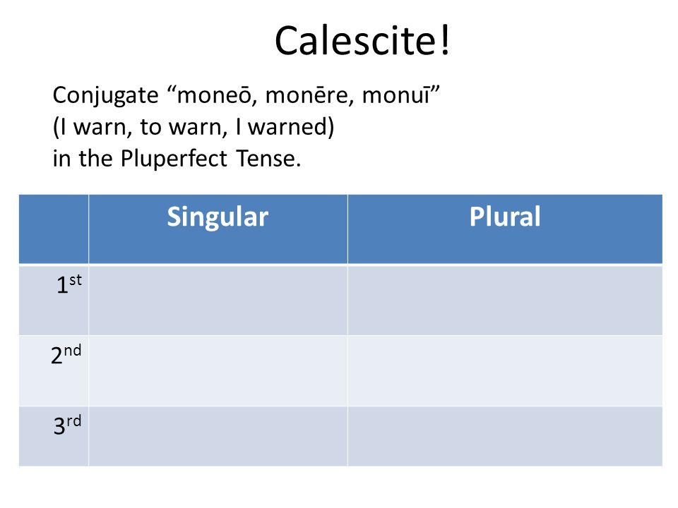 "Calescite! SingularPlural 1 st 2 nd 3 rd Conjugate ""moneō, monēre, monuī"" (I warn, to warn, I warned) in the Pluperfect Tense."
