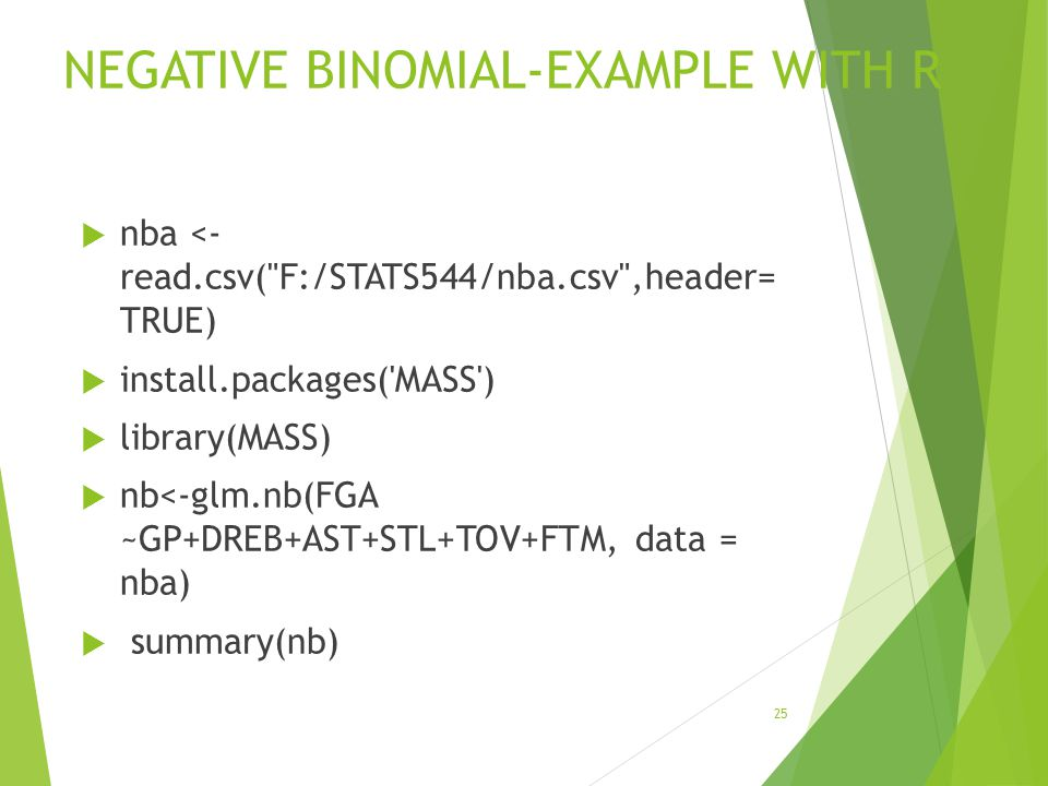 NEGATIVE BINOMIAL-EXAMPLE WITH R  nba <- read.csv(