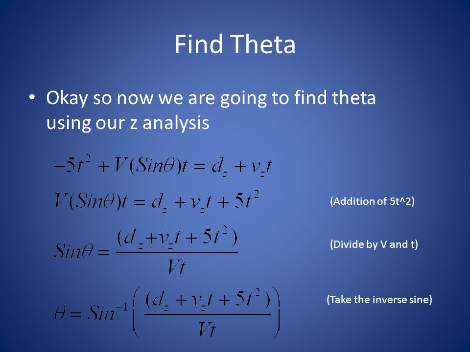 Find Theta Okay so now we are going to find theta using our z analysis (Addition of 5t^2) (Divide by V and t) (Take the inverse sine)