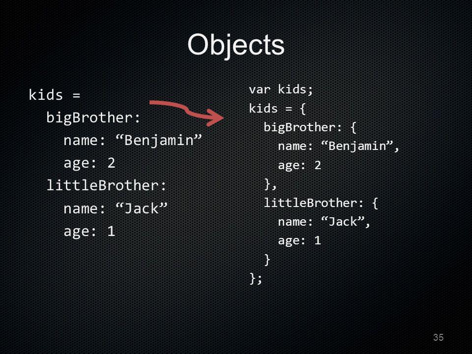 Objects kids = bigBrother: name: Benjamin age: 2 littleBrother: name: Jack age: 1 var kids; kids = { bigBrother: { name: Benjamin , age: 2 }, littleBrother: { name: Jack , age: 1 } }; 35