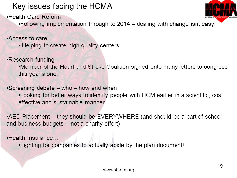 19 www.4hcm.org Key issues facing the HCMA Health Care Reform Following implementation through to 2014 – dealing with change isnt easy.