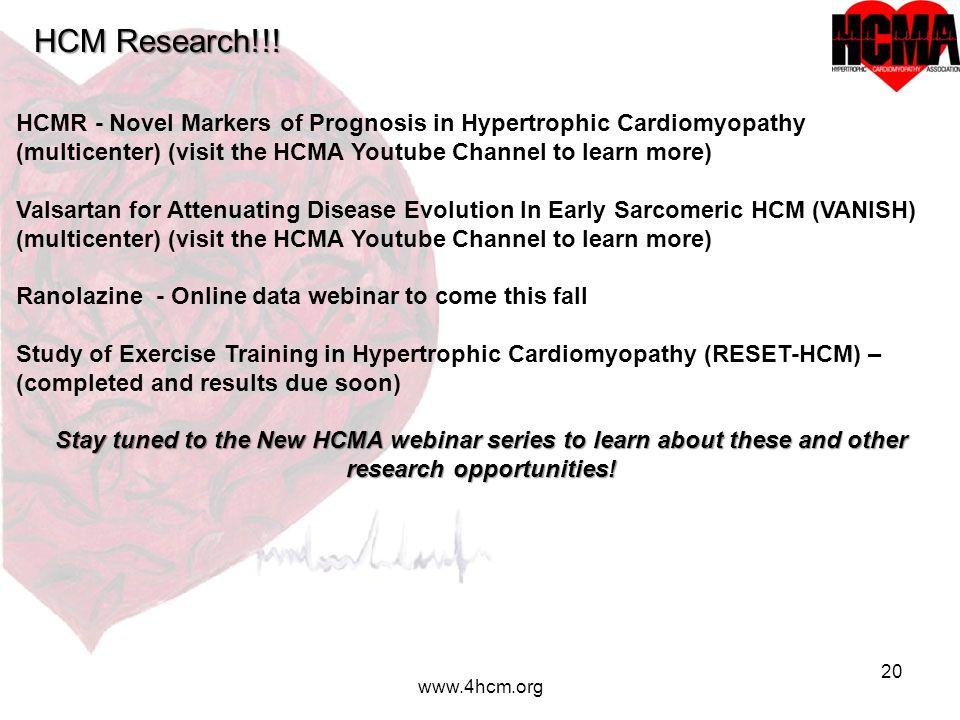 20 www.4hcm.org HCM Research!!.
