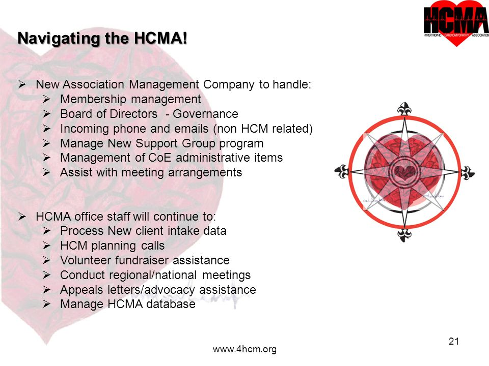 21 www.4hcm.org Navigating the HCMA.