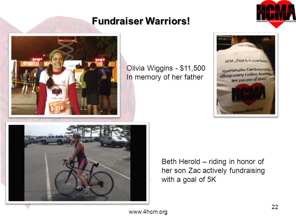 22 www.4hcm.org Fundraiser Warriors! Olivia Wiggins - $11,500 In memory of her father Beth Herold – riding in honor of her son Zac actively fundraisin