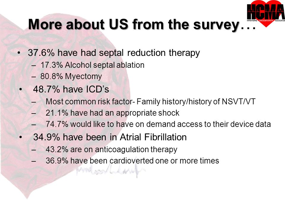 More about US from the survey More about US from the survey … 37.6% have had septal reduction therapy –17.3% Alcohol septal ablation –80.8% Myectomy 48.7% have ICD's –Most common risk factor- Family history/history of NSVT/VT –21.1% have had an appropriate shock –74.7% would like to have on demand access to their device data 34.9% have been in Atrial Fibrillation –43.2% are on anticoagulation therapy –36.9% have been cardioverted one or more times