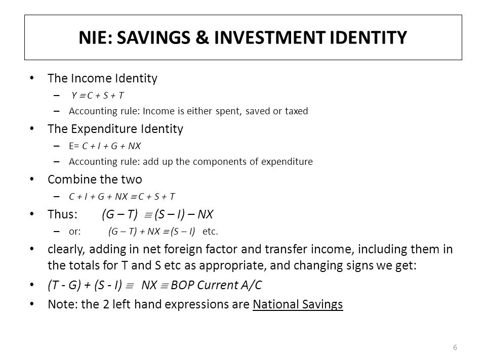 NIE: SAVINGS & INVESTMENT IDENTITY The Income Identity – Y  C + S + T – Accounting rule: Income is either spent, saved or taxed The Expenditure Ident