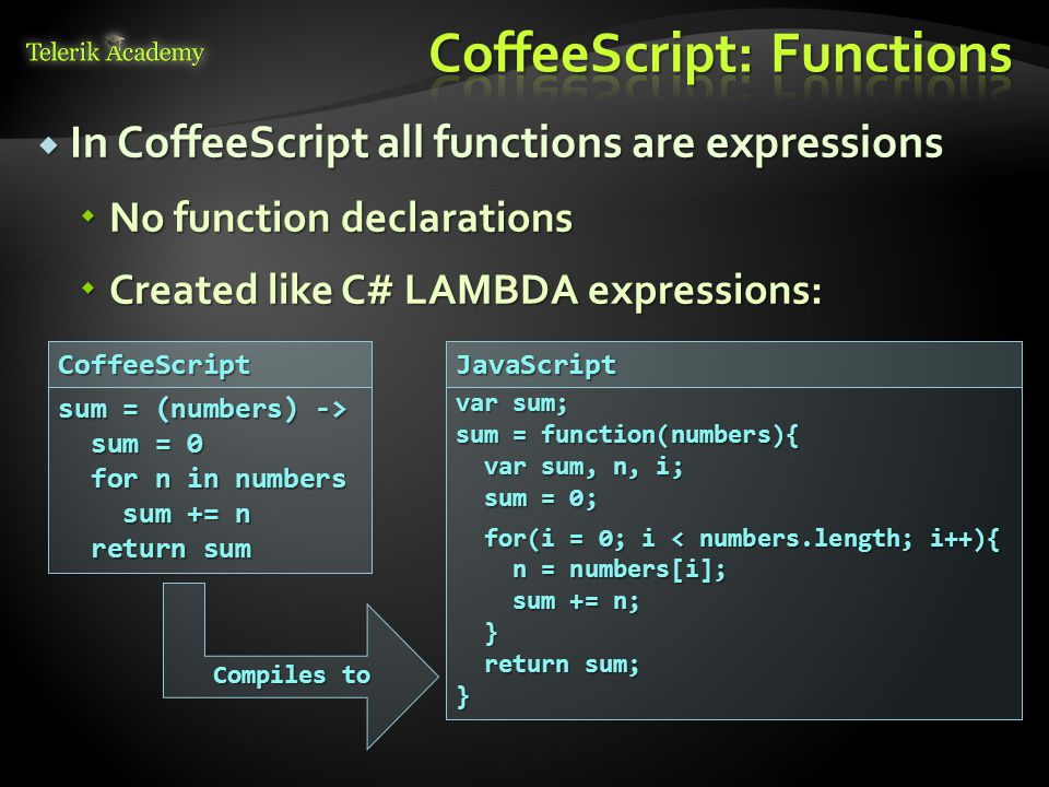  In CoffeeScript all functions are expressions  No function declarations  Created like C# LAMBDA expressions: sum = (numbers) -> sum = 0 sum = 0 for n in numbers for n in numbers sum += n sum += n return sum return sum var sum; sum = function(numbers){ var sum, n, i; var sum, n, i; sum = 0; sum = 0; for(i = 0; i < numbers.length; i++){ for(i = 0; i < numbers.length; i++){ n = numbers[i]; n = numbers[i]; sum += n; sum += n; } return sum; return sum;}CoffeeScriptJavaScript Compiles to