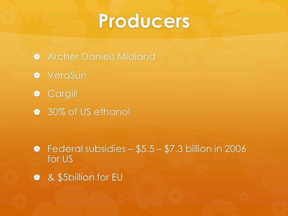 Producers  Archer Daniels Midland  VeraSun  Cargill  30% of US ethanol  Federal subsidies – $5.5 – $7.3 billion in 2006 for US  & $5billion for