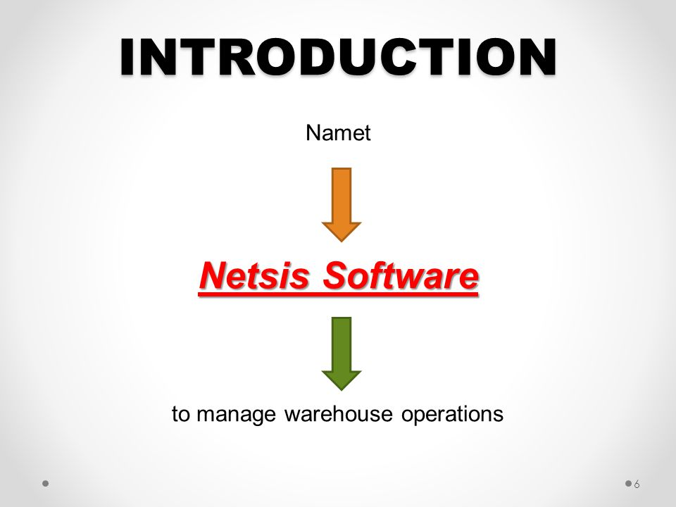 INTRODUCTION Namet Netsis Software to manage warehouse operations 6