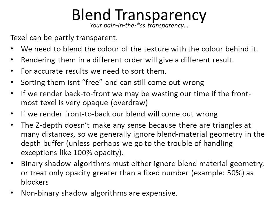 Blend Transparency Texel can be partly transparent.