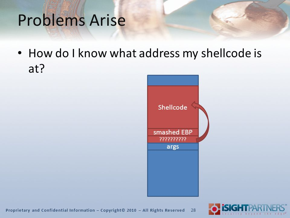 Proprietary and Confidential Information – Copyright© 2010 – All Rights Reserved Problems Arise How do I know what address my shellcode is at.