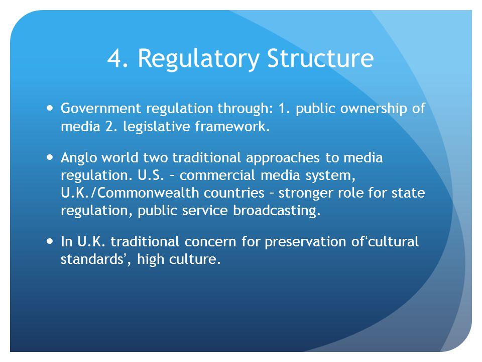 4. Regulatory Structure Government regulation through: 1.