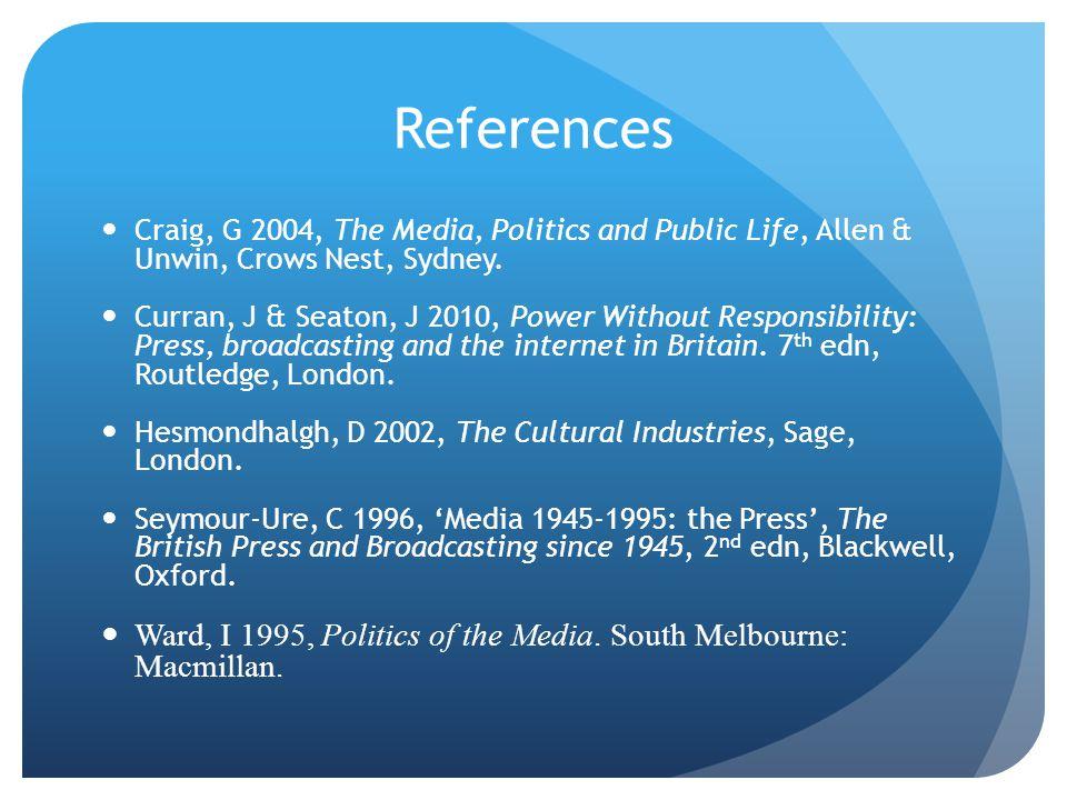 References Craig, G 2004, The Media, Politics and Public Life, Allen & Unwin, Crows Nest, Sydney.