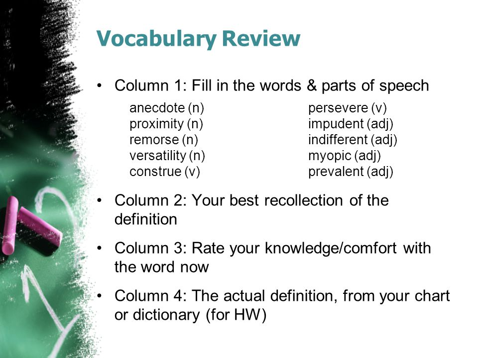Vocabulary Review Column 1: Fill in the words & parts of speech Column 2: Your best recollection of the definition Column 3: Rate your knowledge/comfo