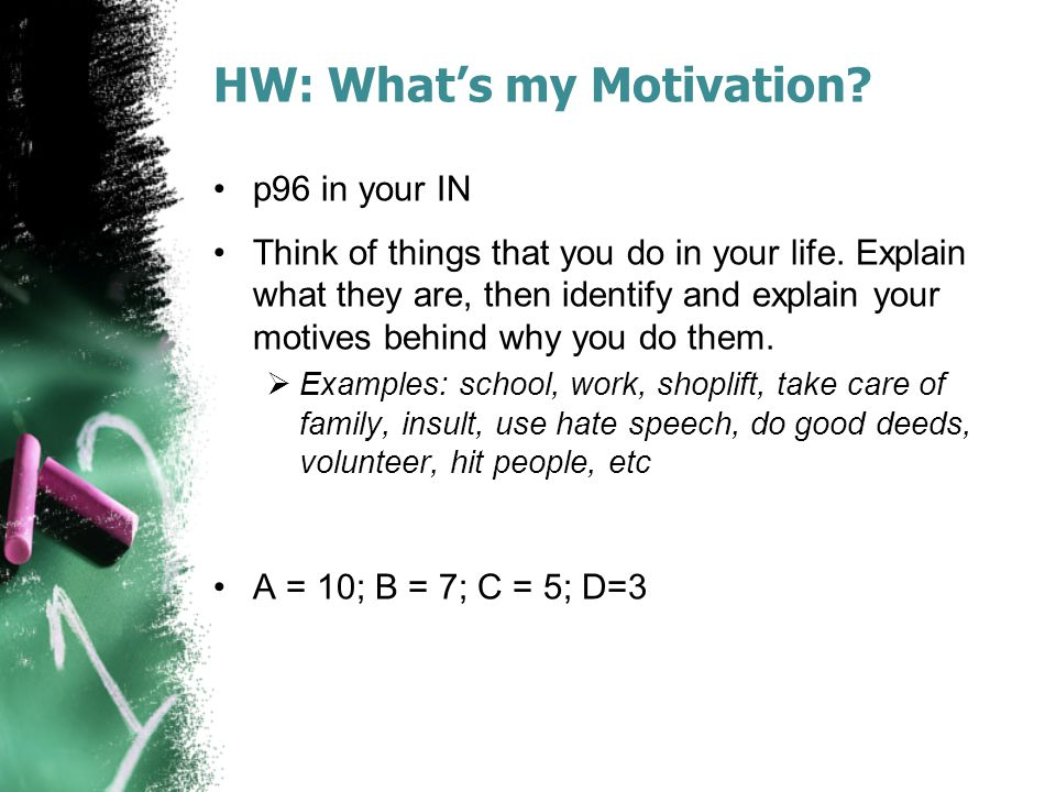 HW: What's my Motivation? p96 in your IN Think of things that you do in your life. Explain what they are, then identify and explain your motives behin