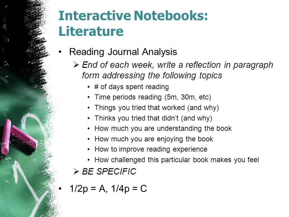 Interactive Notebooks: Literature Reading Journal Analysis  End of each week, write a reflection in paragraph form addressing the following topics #
