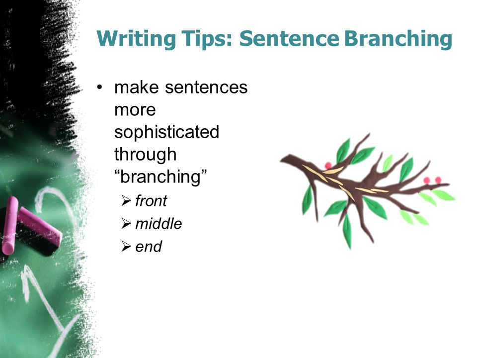 "Writing Tips: Sentence Branching make sentences more sophisticated through ""branching""  front  middle  end"