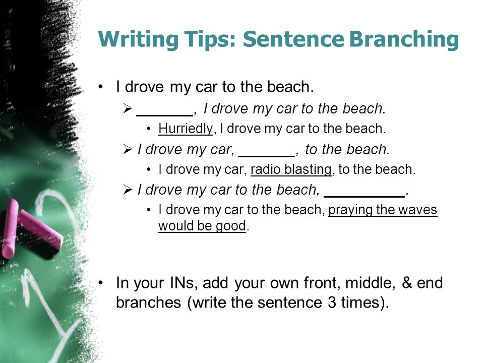 Writing Tips: Sentence Branching I drove my car to the beach.  _______, I drove my car to the beach. Hurriedly, I drove my car to the beach.  I drov