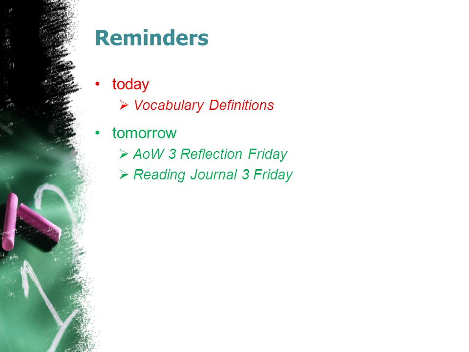 Reminders today  Vocabulary Definitions tomorrow  AoW 3 Reflection Friday  Reading Journal 3 Friday