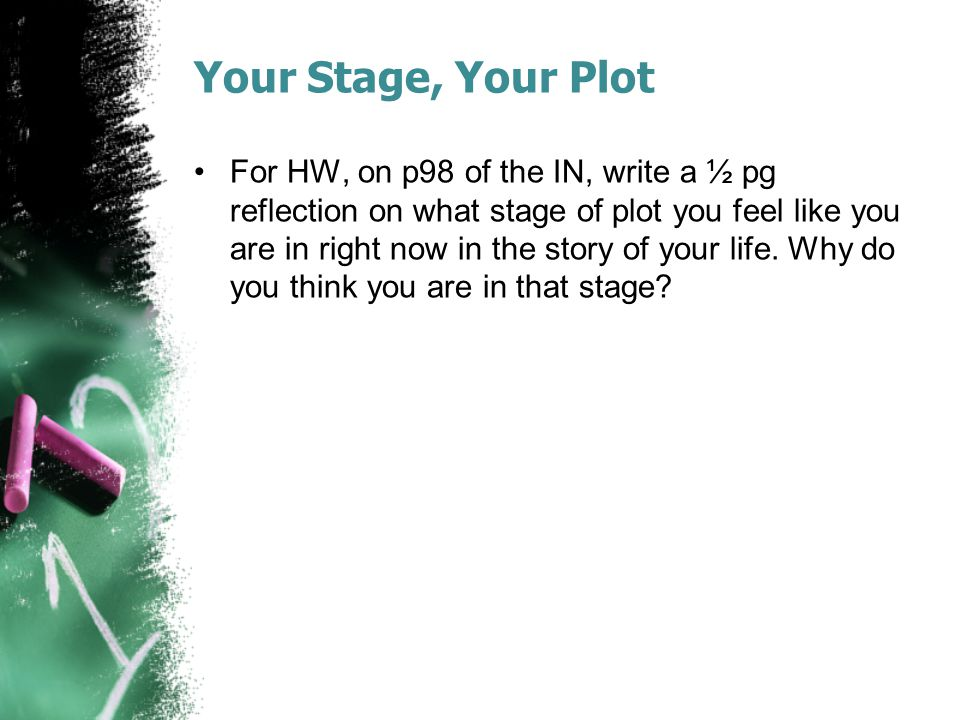 Your Stage, Your Plot For HW, on p98 of the IN, write a ½ pg reflection on what stage of plot you feel like you are in right now in the story of your