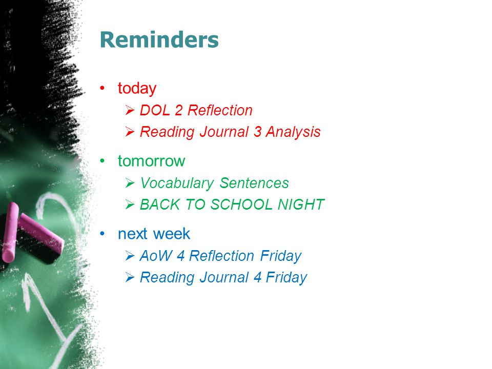 Reminders today  DOL 2 Reflection  Reading Journal 3 Analysis tomorrow  Vocabulary Sentences  BACK TO SCHOOL NIGHT next week  AoW 4 Reflection Fr