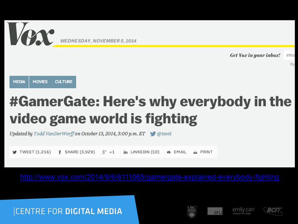 http://www.vox.com/2014/9/6/6111065/gamergate-explained-everybody-fighting