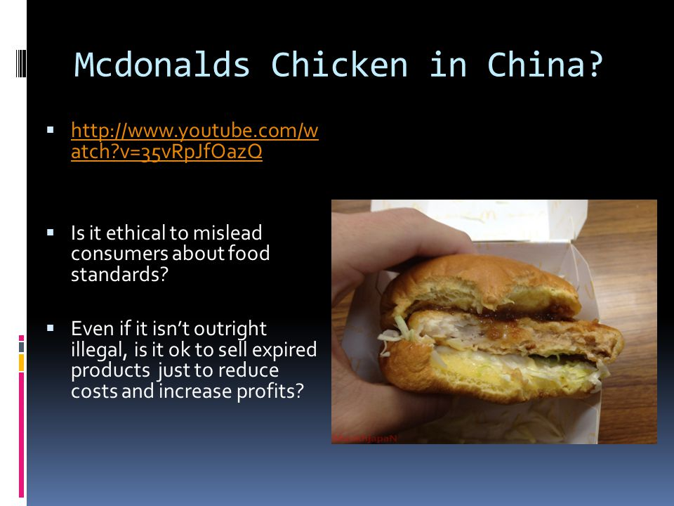 Mcdonalds Chicken in China.