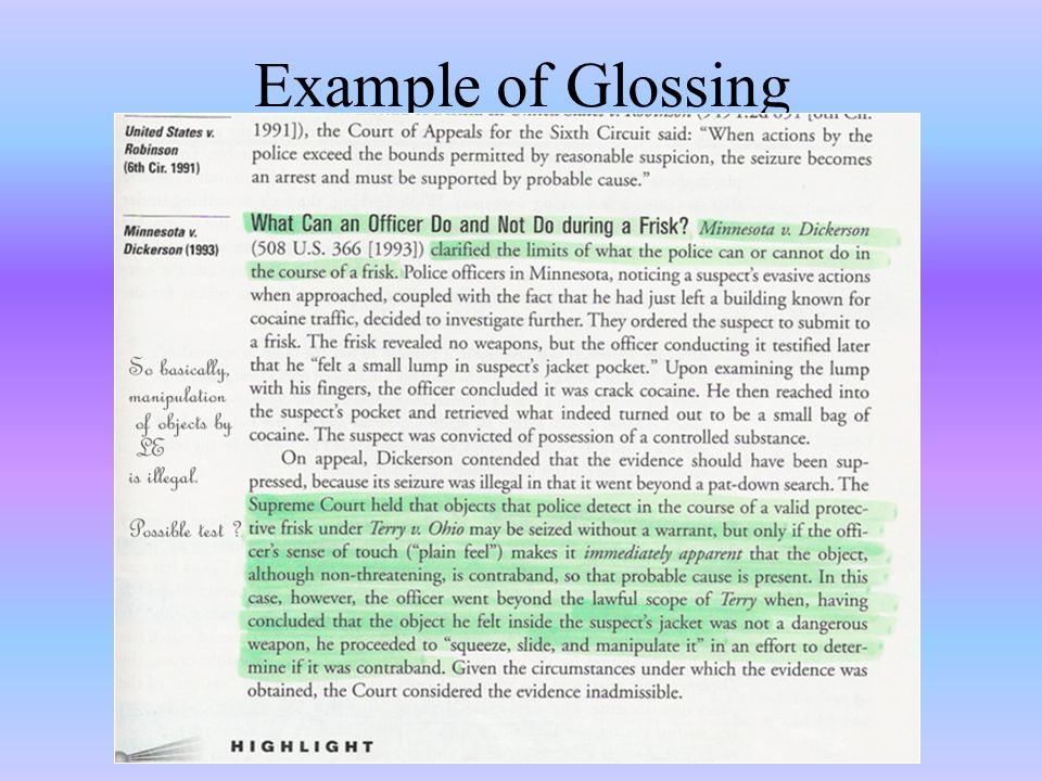 Example of Glossing