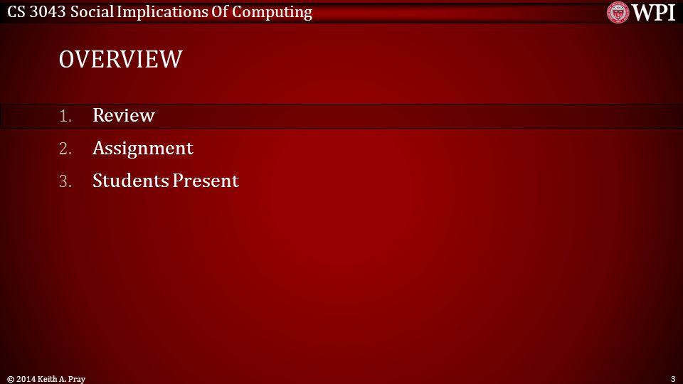 CS 3043 Social Implications Of Computing OVERVIEW 1.