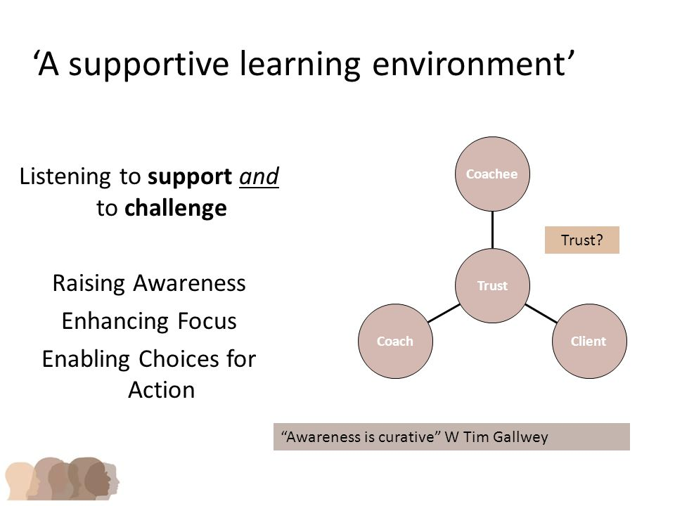 Coach Client Coachee Trust 'A supportive learning environment' Listening to support and to challenge Raising Awareness Enhancing Focus Enabling Choices for Action Awareness is curative W Tim Gallwey Trust