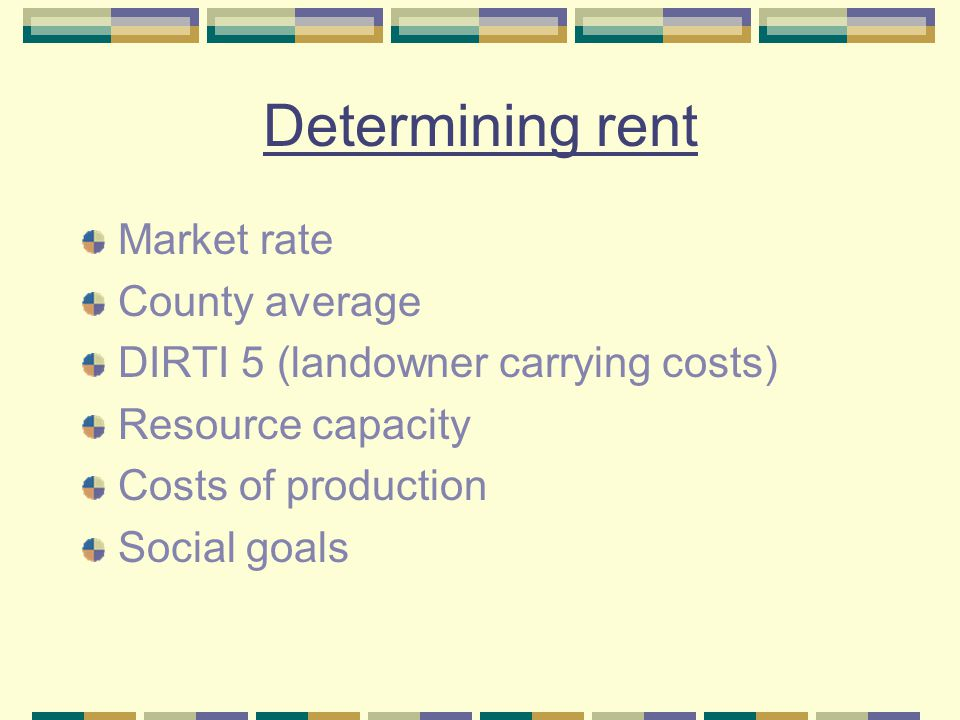 Determining rent Market rate County average DIRTI 5 (landowner carrying costs) Resource capacity Costs of production Social goals
