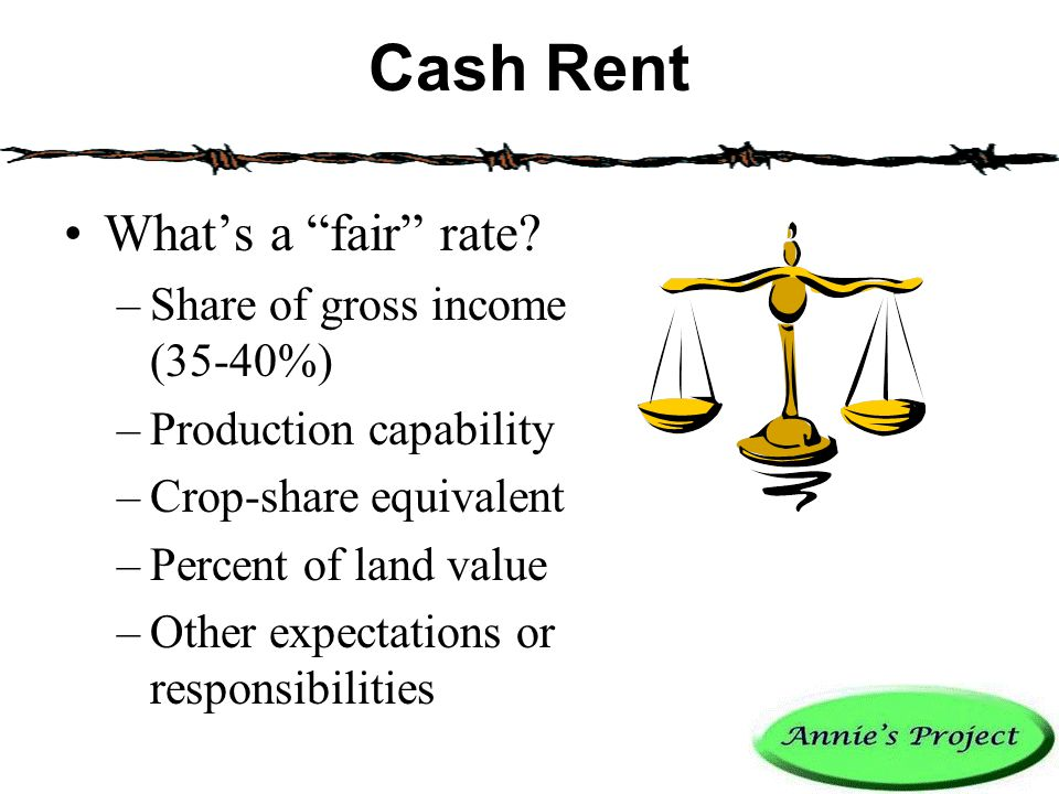 Cash Rent What's a fair rate.