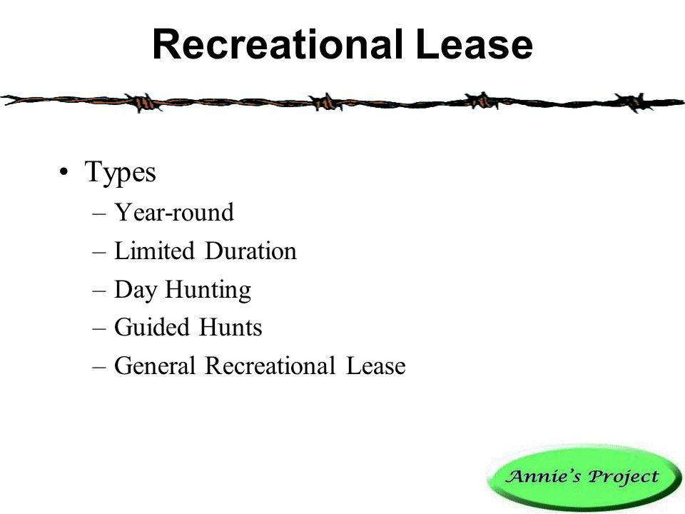 Recreational Lease Types –Year-round –Limited Duration –Day Hunting –Guided Hunts –General Recreational Lease