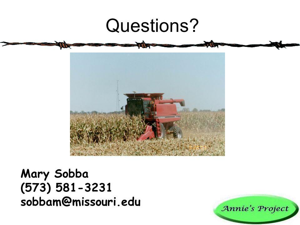Questions? Mary Sobba (573) 581-3231 sobbam@missouri.edu