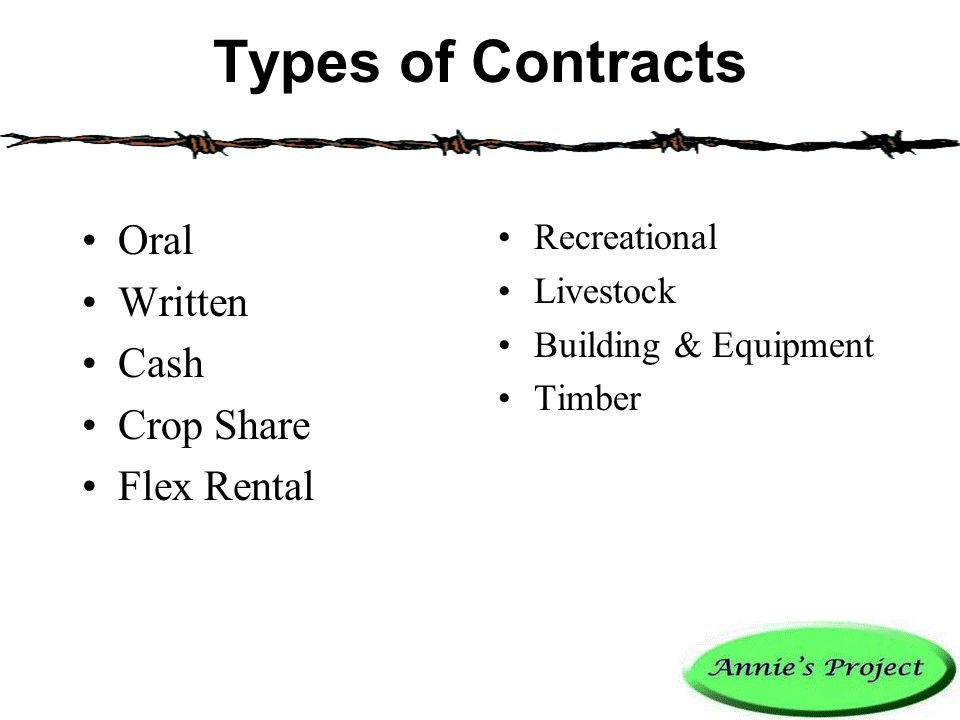 Types of Contracts Oral Written Cash Crop Share Flex Rental Recreational Livestock Building & Equipment Timber