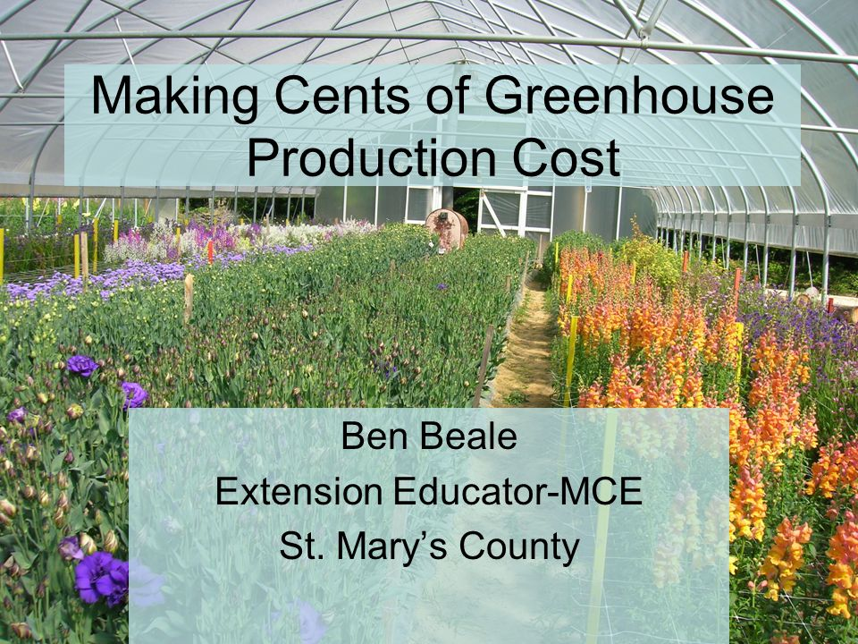 Making Cents of Greenhouse Production Cost Ben Beale Extension Educator-MCE St. Mary's County