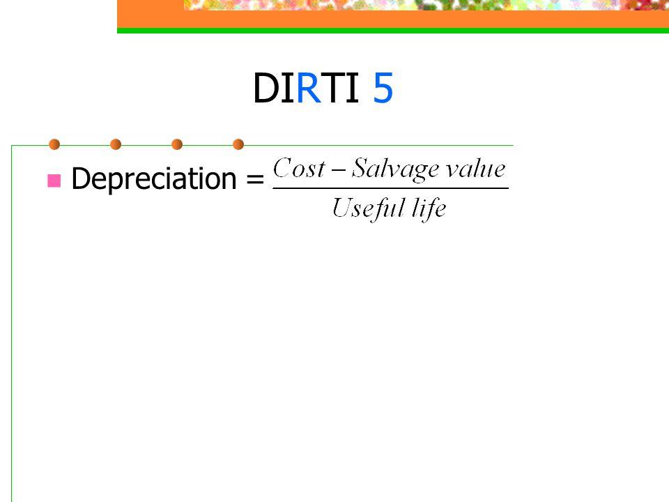 DIRTI 5 Depreciation =