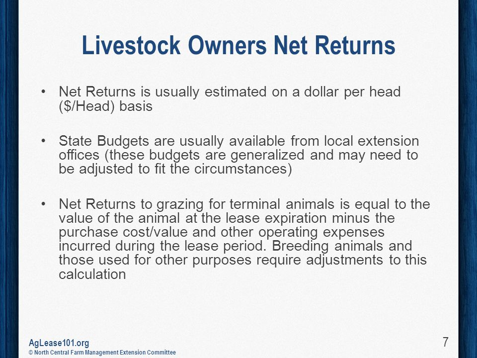AgLease101.org © North Central Farm Management Extension Committee Livestock Owners Net Returns Net Returns is usually estimated on a dollar per head ($/Head) basis State Budgets are usually available from local extension offices (these budgets are generalized and may need to be adjusted to fit the circumstances) Net Returns to grazing for terminal animals is equal to the value of the animal at the lease expiration minus the purchase cost/value and other operating expenses incurred during the lease period.