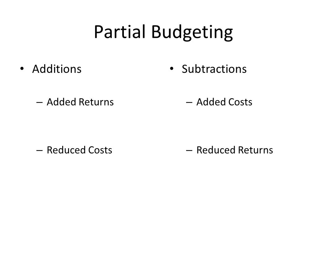 Partial Budgeting Additions – Added Returns – Reduced Costs Subtractions – Added Costs – Reduced Returns