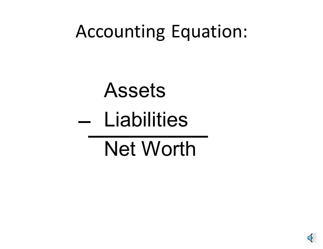 Financial Objective: increase net worth Assets -Liabilities Net Worth