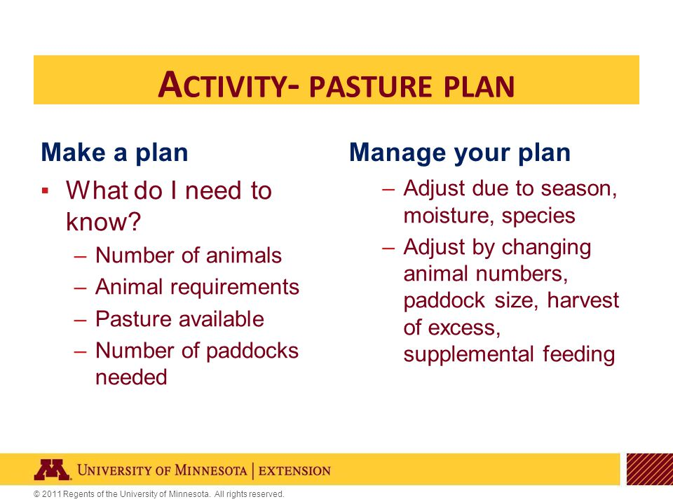 © 2011 Regents of the University of Minnesota. All rights reserved. Make a plan ▪What do I need to know? –Number of animals –Animal requirements –Past