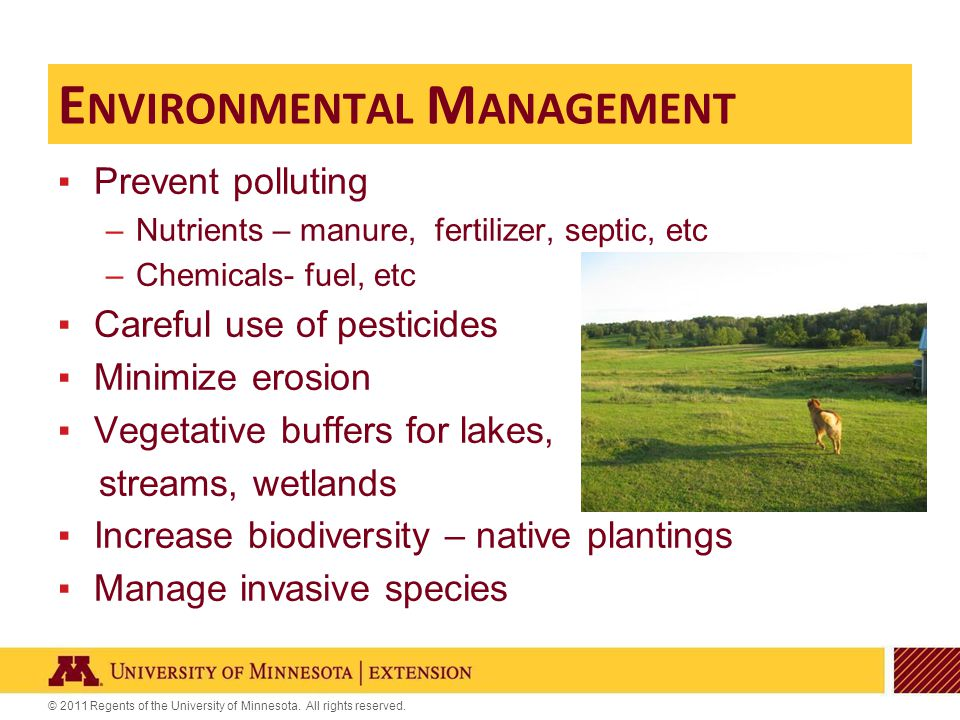 © 2011 Regents of the University of Minnesota. All rights reserved. ▪Prevent polluting –Nutrients – manure, fertilizer, septic, etc –Chemicals- fuel,
