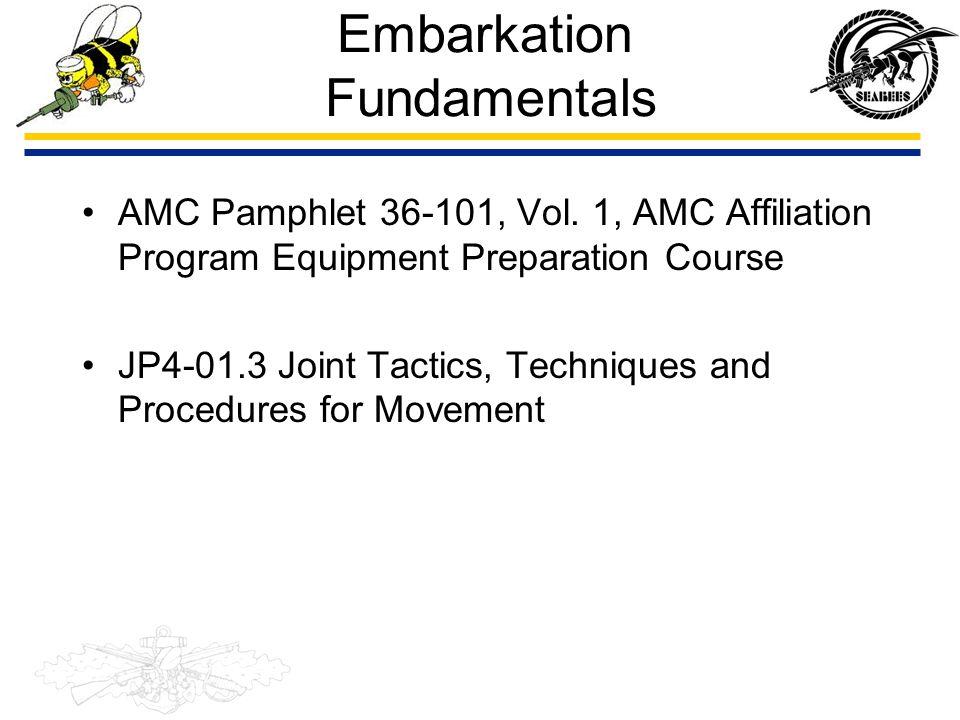 Embarkation Fundamentals AMC Pamphlet 36-101, Vol. 1, AMC Affiliation Program Equipment Preparation Course JP4-01.3 Joint Tactics, Techniques and Proc